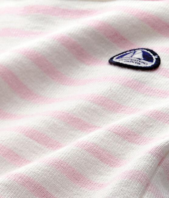 Langärmeliger Baby-Body im maritimen Stil weiss Marshmallow / rosa Babylone