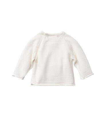 Baby-Jäckchen aus Wolle/Baumwolle weiss Lait