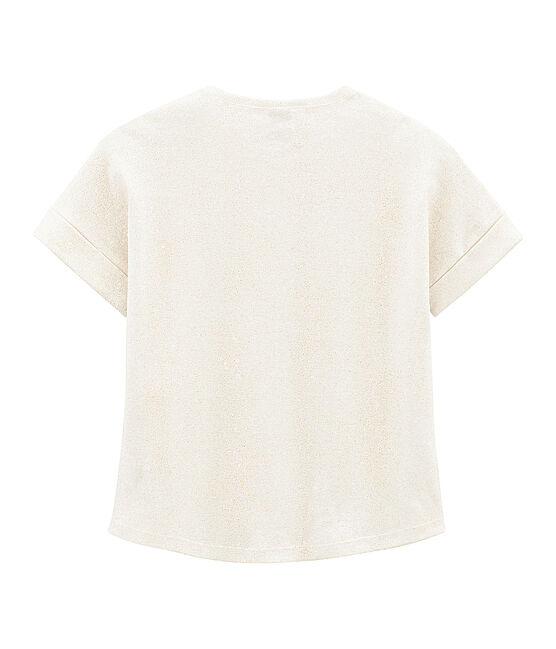 Kurzärmeliges Kinder-T-Shirt Mädchen weiss Marshmallow / rosa Copper