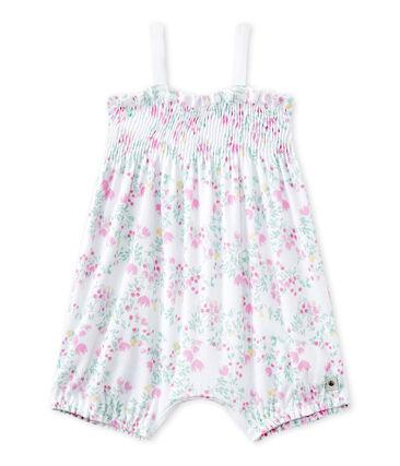 Gesmokter kurzer Baby-Mädchen-Einteiler mit Print