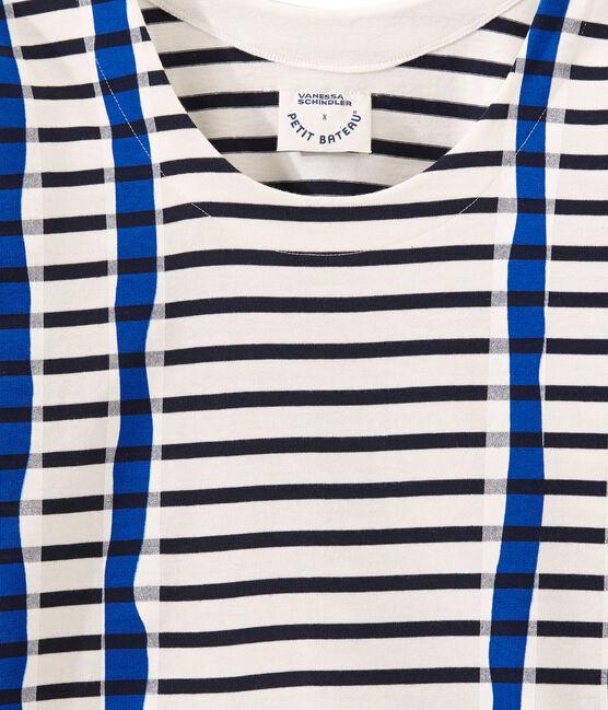 Streifenshirt im kimono-design weiss Marshmallow / blau Smoking