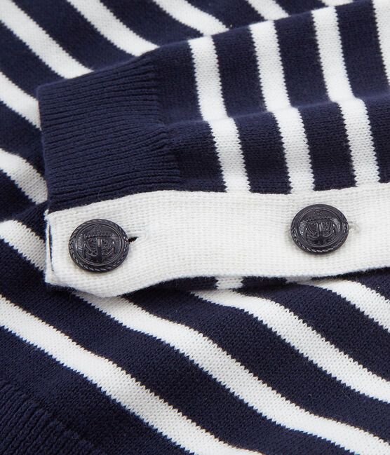 Damenpullover blau Smoking / weiss Marshmallow