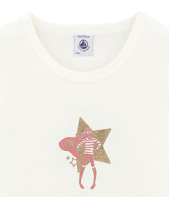 Mädchen-Kurzarmshirt weiss Marshmallow