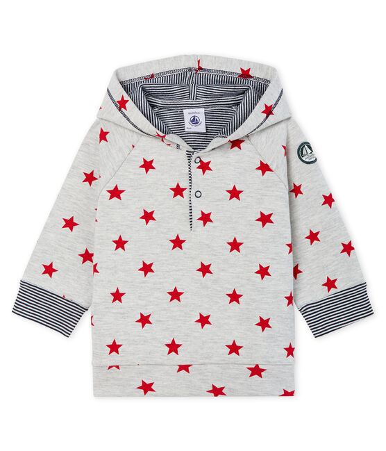 Gemustertes gestricktes Baby-Kapuzensweatshirt für Jungen grau Beluga / rot Terkuit