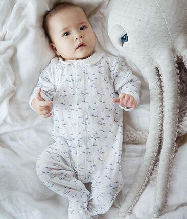 Baby-Strampler aus Doppeljersey für Jungen weiss Marshmallow / weiss Multico