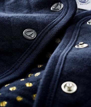 Baby-Cardigan aus gestepptem Doppeljersey für Mädchen blau Smoking