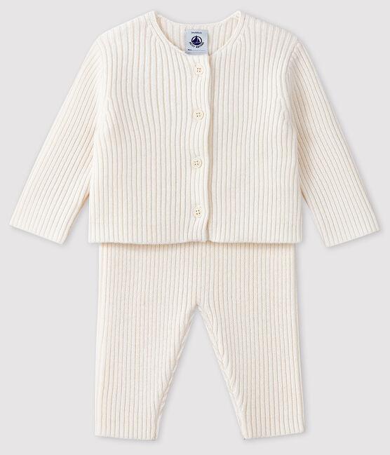 Weißer Baby-Zweiteiler aus Trikot weiss Marshmallow