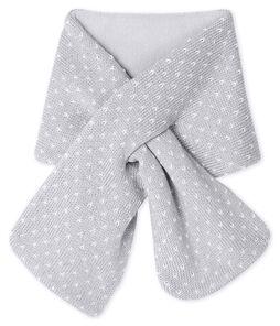 Baby-Schal, unisex mit Fleecefutter grau Subway / weiss Marshmallow