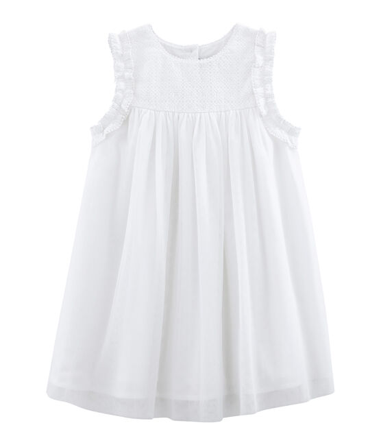 Kurzärmeliges Kinder-Festtagskleid Mädchen weiss Ecume / gelb Or