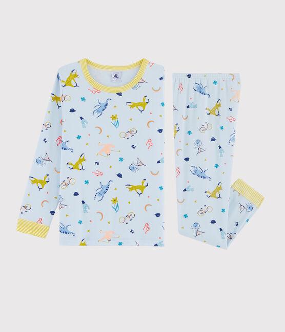 Rippstrick-Pyjama als Fuchskostüm für kleine Jungen blau Fraicheur / weiss Multico