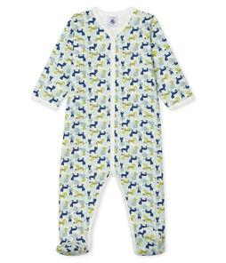 Baby-Strampler aus Molton für Jungen weiss Marshmallow / weiss Multico