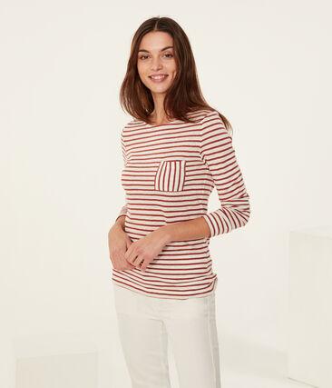 Langarm-leinen-t-shirt damen weiss Marshmallow / rosa Copper