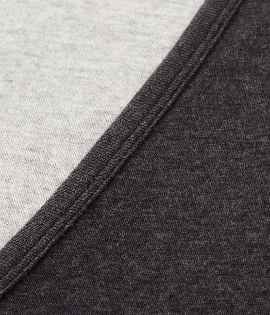 Damen-strickjacke aus extra feiner gedoppelter baumwolle grau City Chine