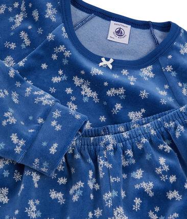 Samt-Pyjama für Mädchen blau Major / weiss Multico