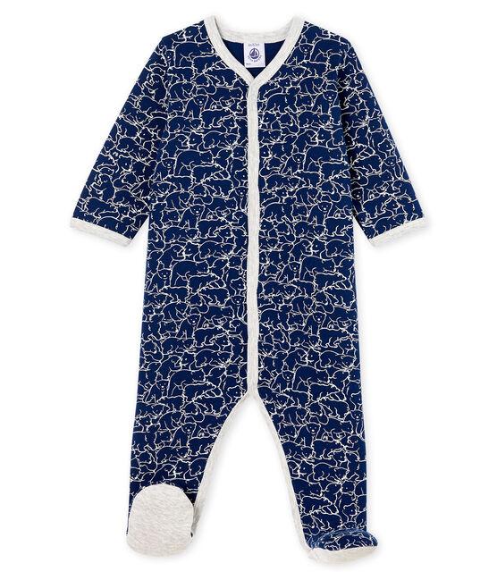 Baby-Strampler aus Molton für Jungen blau Major / weiss Marshmallow