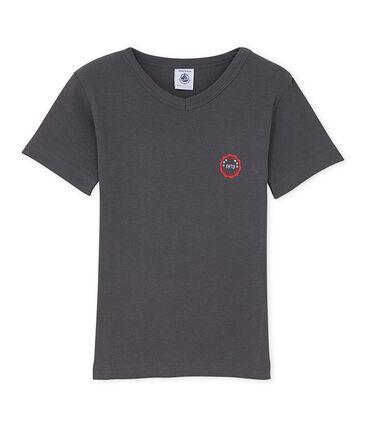 Jungen-T-Shirt mit V-Ausschnitt und Motiv