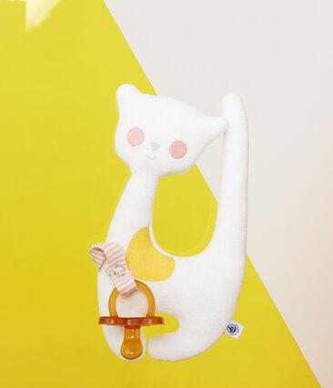 Kuscheltier mit Schnullerlasche aus Bouclé-Frottier für Mädchen weiss Marshmallow