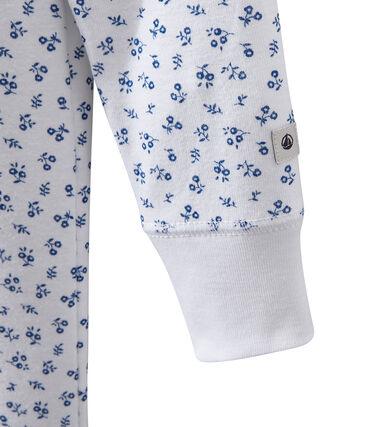 Mädchen-Schlafanzug mit Druckmotiv weiss Ecume / blau Bleu