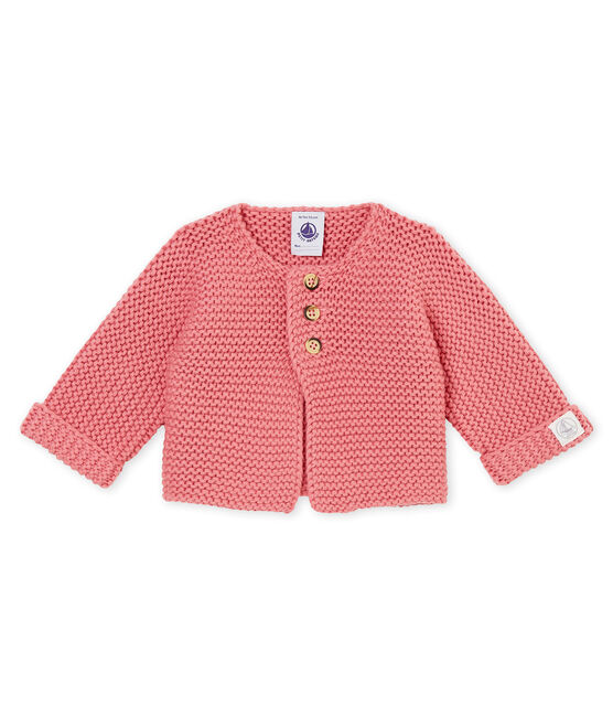 Unisex Baby Cardigan in Krausstrick rosa Cheek