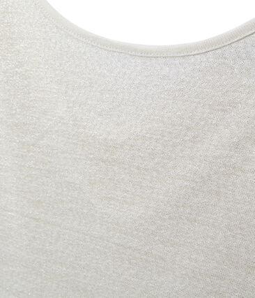Damen-T-Shirt mit Wasserfall-Ausschnitt aus irisierendem Leinen weiss Lait / gelb Or