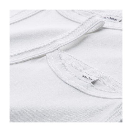 Set aus zwei einfarbigen weißen Trägerhemden für kleine Mädchen lot .