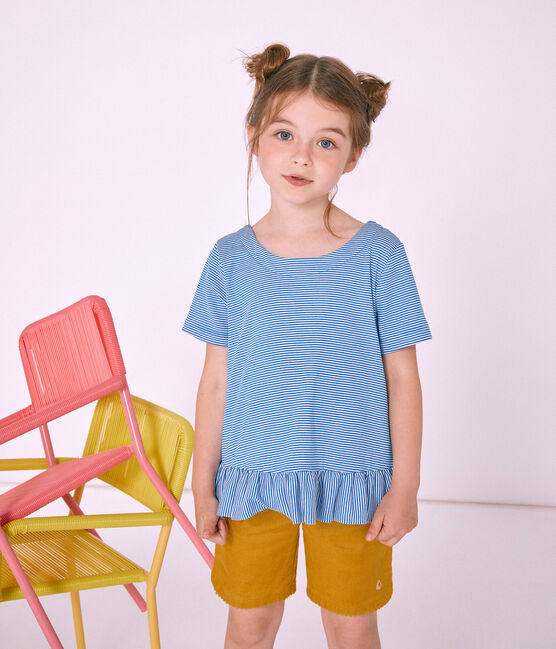 Kurzärmeliges Kinder-T-Shirt Mädchen blau Riyadh / weiss Marshmallow