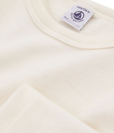 Langärmeliges T-Shirt aus Wolle und Baumwolle für Kinder beige Ecru