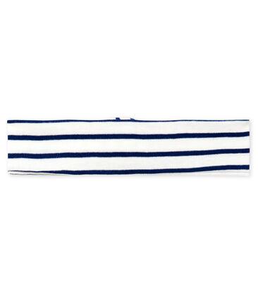 Baby-Haarband Mädchen, gestreift weiss Marshmallow / blau Smoking