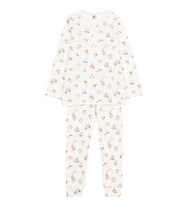 Pyjama für kleine Mädchen weiss Marshmallow / weiss Multico