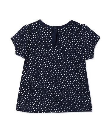 Bedrucktes Baby-Mädchen-T-Shirt blau Smoking / weiss Lait