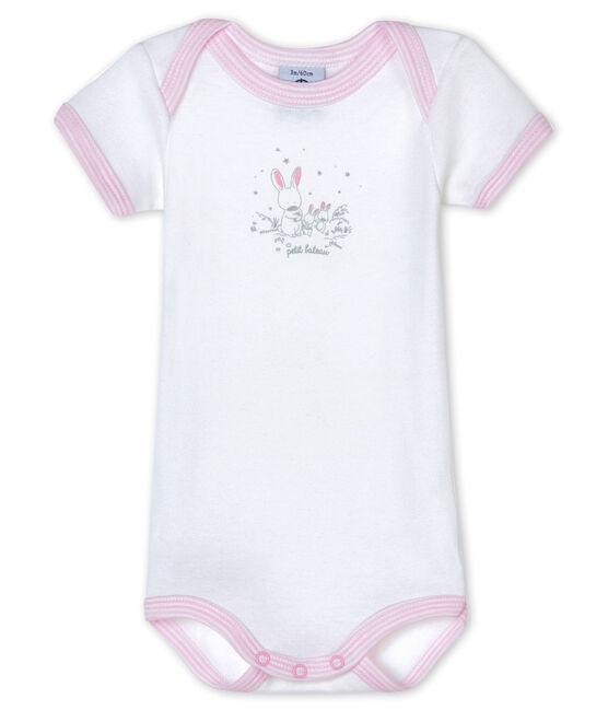 Kurzärmeliger Baby-Body für Mädchen weiss Ecume / rosa Doll