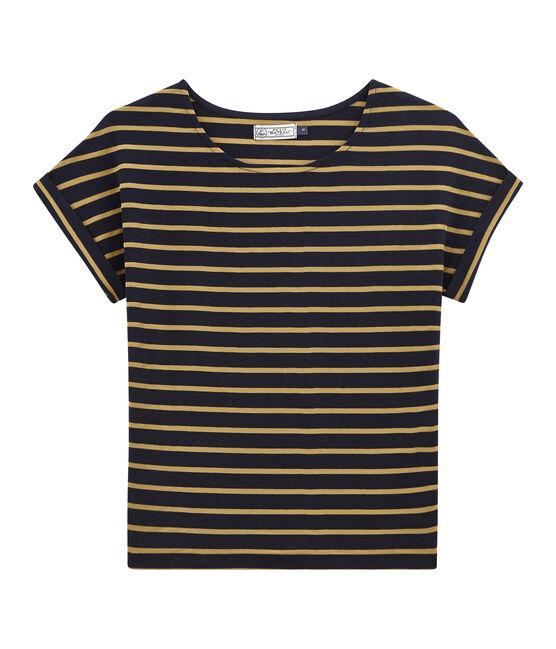 satiniertes damen-kurzarmshirt blau Smoking / gelb Brindille Satin