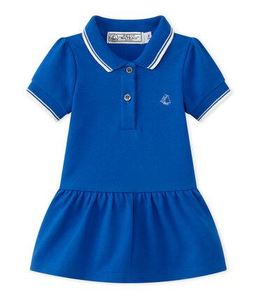 Baby Mädchen Kleid blau Perse