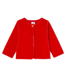 Baby-Samtstrick-Cardigan für Mädchen rot Terkuit