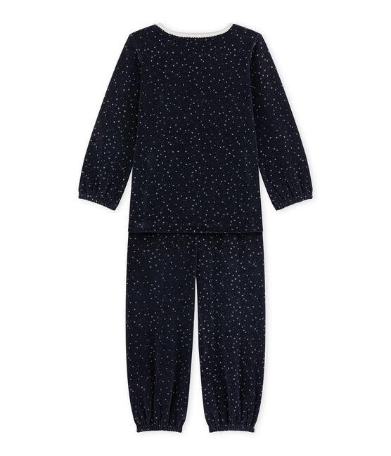 Mädchen-Schlafanzug aus Velours-Frottier blau Smoking / grau Argent