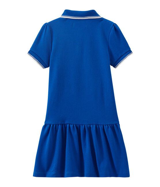 Dieses Mädchen-Kurzarmkleid blau Perse