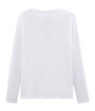 Langärmeliges damen-t-shirt sea island aus baumwolle weiss Ecume