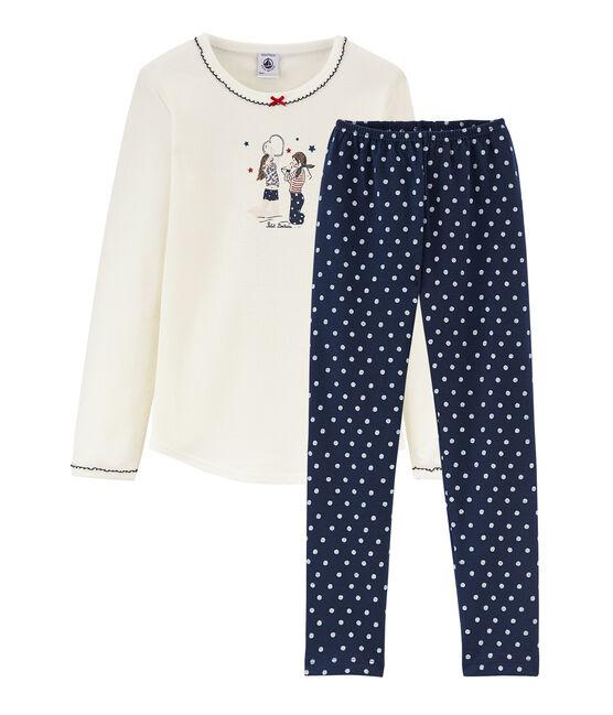 Rippstrick-Pyjama für kleine Mädchen blau Haddock / weiss Marshmallow