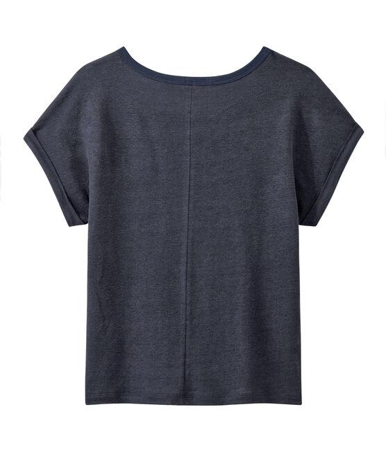 Damen-T-Shirt aus fließendem Leinen blau Smoking
