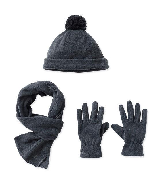 Mütze, Handschuhe und Schal aus Fleece grau City Chine