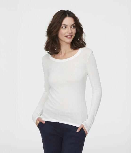 Damen-T-Shirt, leichter Rippstrick weiss Marshmallow