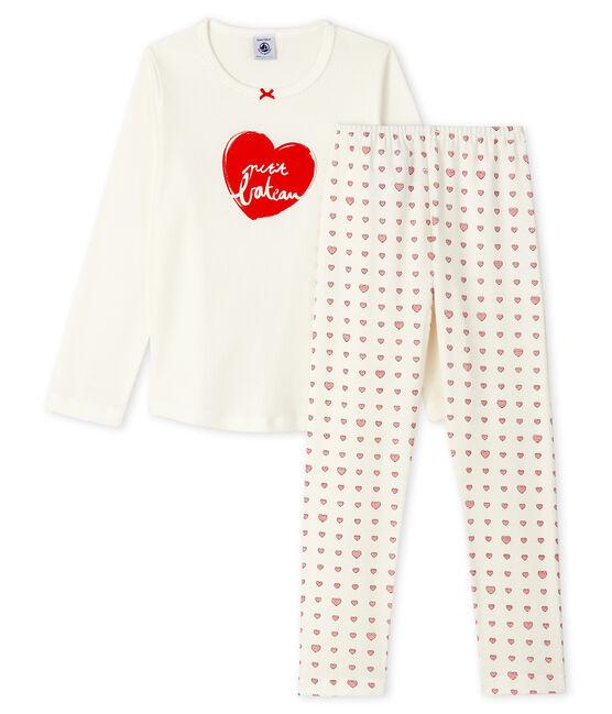 Rippstrick-Pyjama mit rotem Herz, für kleine Mädchen. weiss Marshmallow / weiss Multico