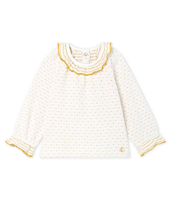 Langärmelige Baby-Bluse aus Jacquard-Doppeljersey für Mädchen. weiss Marshmallow / gelb Or