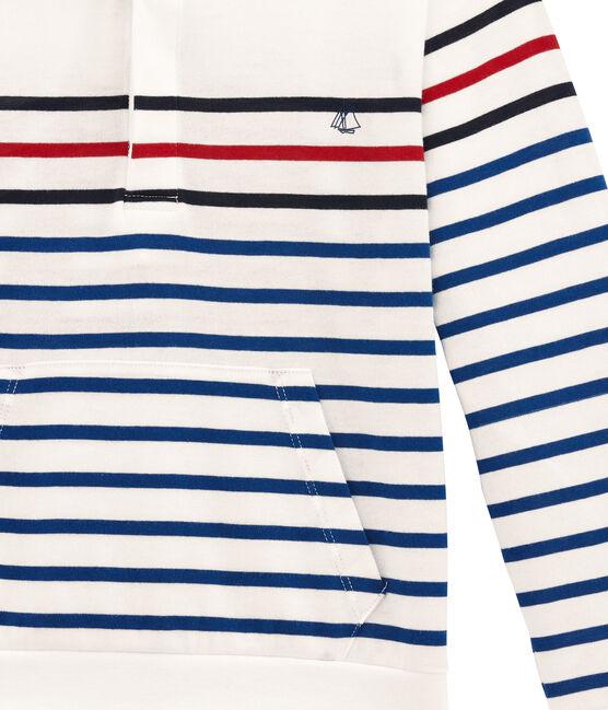 Jungen Langarmshirt mit Kapuze weiss Marshmallow / blau Smoking