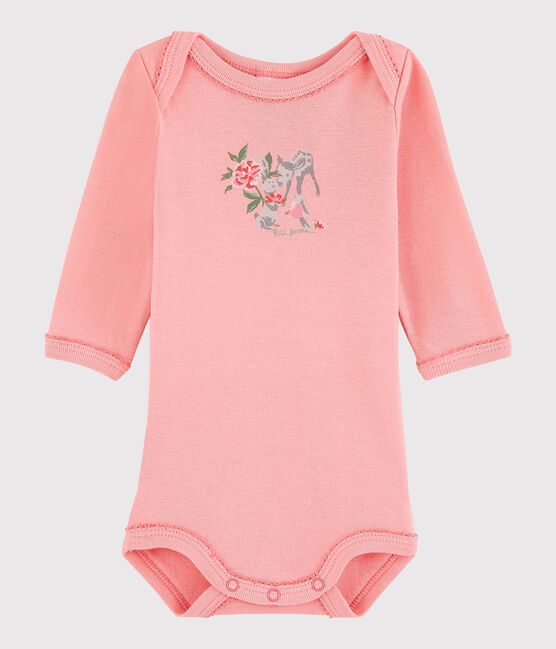 Langärmeliger Baby-Body Mädchen rosa Gretel