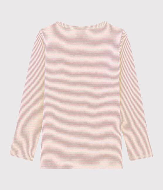 Langärmeliges T-Shirt mit Ringelmuster aus Wolle und Baumwolle für kleine Mädchen rosa Charme / weiss Marshmallow