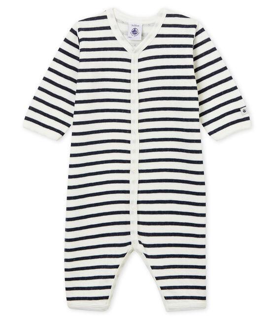 Unisex Baby Strampler ohne Fuß aus gedoppeltem Jersey weiss Marshmallow / blau Smoking