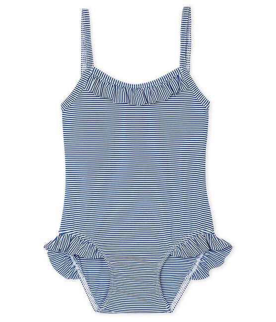 Einteiliger Badeanzug UPF 50+ Baby Mädchen blau Surf / weiss Marshmallow
