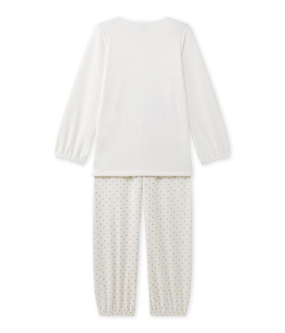 Mädchen-Schlafanzug aus Velours-Frottier mit Motiv weiss Lait / gelb Or