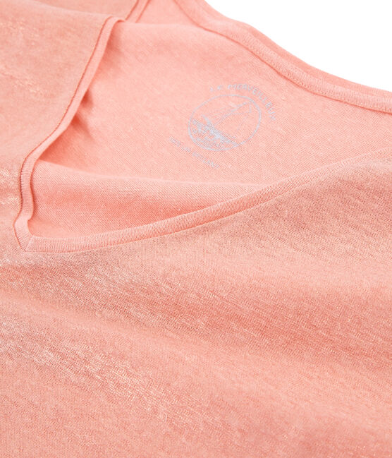 Kurzärmeliges einfarbiges schillerndes leinen-t-shirt damen rosa Rosako / rosa Copper